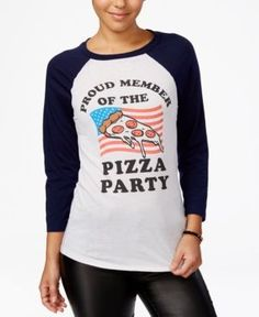 Mighty Fine Juniors' Pizza Party Member Graphic Ragaln - Tan/Beige S