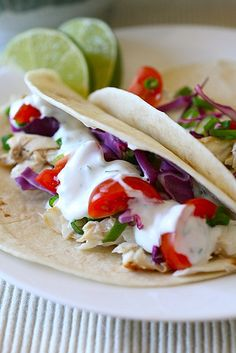 Fish tacos-- healthy dinner suggestion.  Made them but added stuff to the sauce, used greek yogurt and mayo and added spices like chipotle powder, etc. and jalapenos. SO DARN DELICIoUS!!!