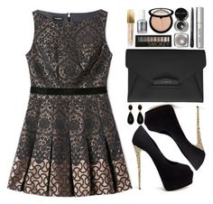 """""""Christmas Night out"""" by designbecky ❤ liked on Polyvore featuring Bebe, Givenchy, Giuseppe Zanotti, Burberry, Forever 21, Essie, Bobbi Brown Cosmetics and Sephora Collection"""