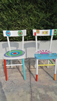 Furniture Update, Funky Furniture, Refurbished Furniture, Art Furniture, Repurposed Furniture, Furniture Makeover, Hand Painted Chairs, Whimsical Painted Furniture, Painted Stools