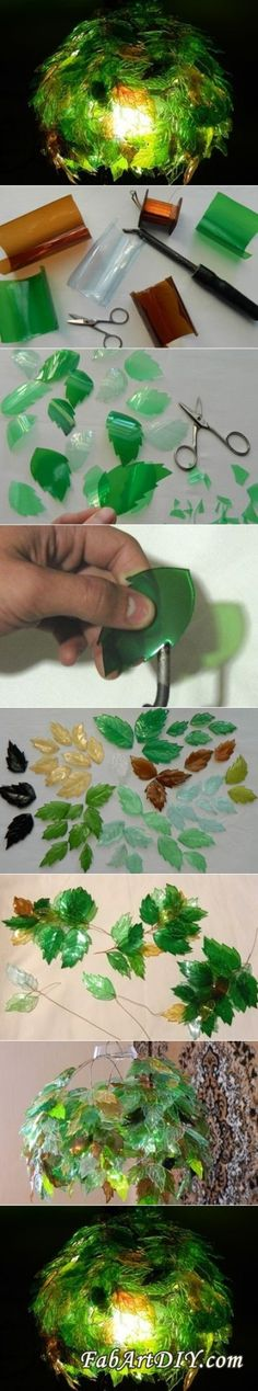 All DIY Crafts — (via DIY Leaf Lamp Shade from Plastic Bottles |...