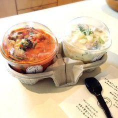 ナスとひき肉のトマトソース  ゴルゴンゾーラ かぶ チキンのホワイトソース  自由が丘のポテトクリーム屋さん テイクアウトでおうちで食べました(*^^*) - 109件のもぐもぐ - ポテトクリーム by sakuramidori