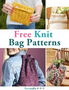27 Knit Bag Patterns | The knit bag patterns in this collection are fun, sometimes easy, and great for beginner and advanced knitters alike. Since some small bags, purses, and totes don't require a full skein of yarn, knitting these totes and purses is a great way to use up any leftover hanks of yarn that you have lying around from other projects. Knitted tote bags also make great reusable shopping totes for trips to the mall or the supermarket.