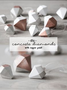 DIY Beton Diamanten Anhänger mit Kupfer | Deko basteln | Do it yourself concrete diamonds with copper paint | Geschenk | Geschenkidee | Dekoration | Home | Living | Anleitung Tutorial Idee | Selbstgemacht | Crafting | schereleimpapier