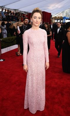 For the 2016 Annual Screen Actors Guild Awards, the actress looked pretty in pink with this full length Michael Kors gown.