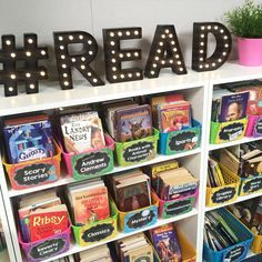 Super cute classroom library! Includes marquee letters from Target.