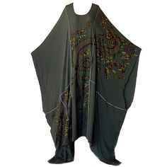 Emilio Pucci Asian Inspired Embroidered Beaded Silk Dress Caftan | From a collection of rare vintage day dresses at https://www.1stdibs.com/fashion/clothing/day-dresses/