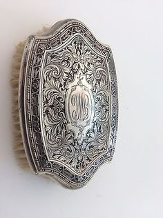 Antique  Hallmarked Sterling Silver Etched Brush