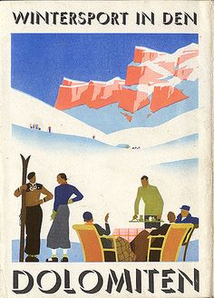 "vintage ski poster. ""Wintersport in den Dolomiten,"" 1938"
