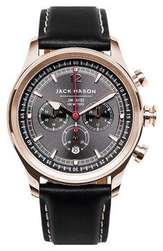 Jack Mason Brand Nautical Chronograph Leather Strap Watch, 42mm