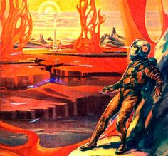 """Russian science fiction art for 1959 movie """"Planeta Bur"""" (The Planet of Storms) - fragment"""