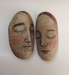 Original painting outsider Kaveman art face stones love Dreamers sleeping rocks #OutsiderArt