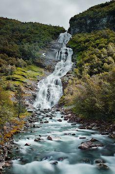 Vettisfossen waterfall, Jotunheimen Mountains, Utladalen Landscape Protection Area, Årdal, Sogn og Fjordane, Norway.