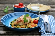 Kylling med indisk linse- og spinatsalat