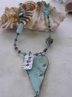 Honey Girl Studio Jewelry - Painted leather heart necklace - jewelry for sale