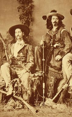 "James Butler ""Wild Bill"" Hickok and William F. ""Buffalo Bill"" Cody in 1873, dressed for the stage. Description from centerofthewest.org. I searched for this on bing.com/images"