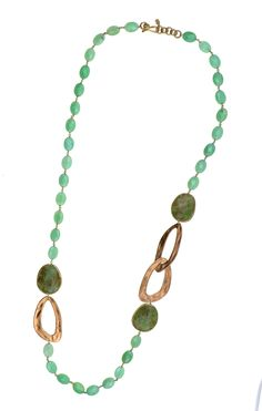 Necklace made of sterling silver 925 with chrysoprasio and quartz stones Turquoise Necklace, Beaded Necklace, Quartz Stone, Jewelery, Stones, Sterling Silver, Gold, Chains, Beaded Collar