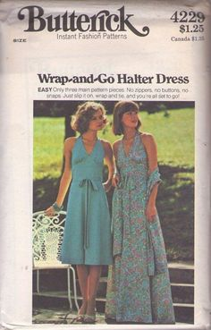 MOMSPatterns Vintage Sewing Patterns - Butterick 4229 Vintage 70's Sewing Pattern HOT TO TROT Saturday Night Fever Disco Wrap Around & Go Halter Top Fitted Midriff Sun Dress, Maxi Gown & Stole, Shawl Size 10
