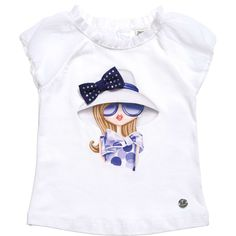 Girls white cotton jersey t-shirt by Mayoral with an image of a girl dressed in blue on the front with a pretty grosgrain ribbon bow, delicately sprinkled with diamante gems. In a classic semi-fitted style, it has pretty crepe chiffon sleeves and trim around the neck, a sliver logo charm on the hem and fastens with a small button at the back of the neck. <br /> <ul> <li>92% cotton, 8% elastane (stretch cotton jersey)</li> <li>Machine wash (30*C)</li> <li>Designer colour: white</li> </ul>