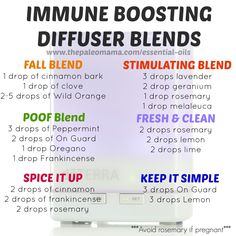 Immune Boosting Diffuser Blends - Get started using essential oils at www.thepaleomama.com/essential-oils
