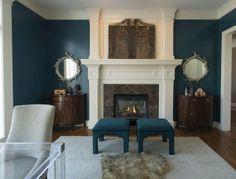formal living room, blue walls