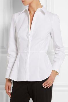 Alexander McQueen|Cotton-piqué peplum shirt|NET-A-PORTER.COM