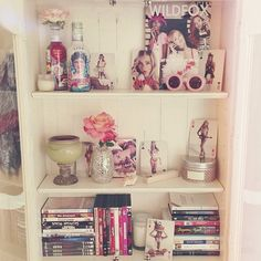 New bedroom decor! Wildfox, vintage books, candles, seashells, roses, and movies