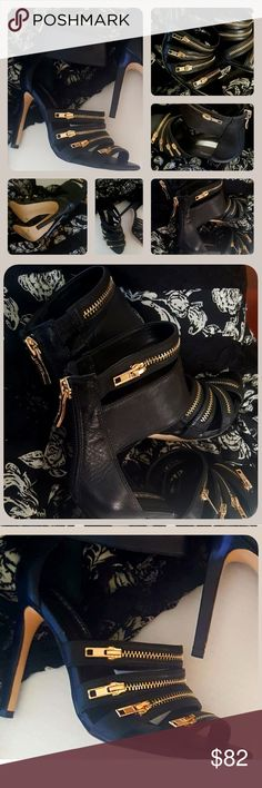 """🛍BCBG ~ Exotic Sexy~Black Ankle Strap Heels 💥NEW 🛍New BCBG High Heels 💄Stand out from the rest!  💥These catches everybody's eyes 🖤Sexy style ~ High ankle strap 🛍Gold-tone zippers 🌟Great quality  🛍 Size 6 1/2 M 🛍  Heel height  4"""" 🛍  New BCBG Shoes Heels"""
