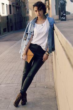 leather pants + oversized denim jacket