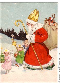 Carte Saint Nicolas et les petits enfants pour envoyer par La Poste, sur Merci-Facteur !