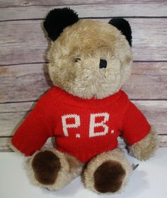 "1981 Vintage Eden Paddington Teddy Bear Plush Red Initial P.B. Sweater 14"" Tall Movie Show Cartoon Character Kids Collectible by JuliaJaneVintage on Etsy"
