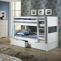 $650; When your family is growing and your space is not, Viv + Rae's ultra durable low bunk bed collection offers the perfect solution. Constructed of solid wood, the upper bunk features front and rear safety guard rails. Both beds include slat roll foundations reinforced with this unique, extra sturdy, center rail support system. The attached extra wide, grooved step ladder and safety guard rails are interchangeable so you can position the ladder where you need it.  The beautiful design…