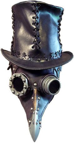Plague doctor mask and stitched leather top hat.  Dr's wore these to treat people who had the Plague. They placed herbs in the beak to defuse the smell.