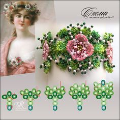 Scheme leaflet from Victoria Rumiantseva - August 2012 - Plans - Beads not only a beautiful hobby . Beading Projects, Beading Tutorials, Beaded Jewelry Patterns, Beading Patterns, Bead Jewellery, Jewlery, Loom Beading, Ruffle Beading, Beads And Wire