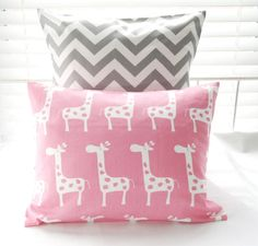 "Pillows Baby Girl Bedding Nursery Decorative Pillow Covers Baby 1 - Pink Giraffes 12"" x 16"" and 1 Gray Chevron 18"" x 18"" Cotton Twill. $30.00, via Etsy."