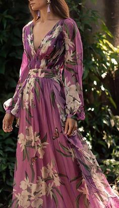 Women Sexy Floral Printed V-Neck Evening Party Dress – Prilly Solid Wrap Long Sleeve Maxi A-line Dress – Prilly maxi dresses maxi skirt outfit maxi dress outfit maxi dress summer maxi dress casual long dress casual summer dress outfit Long Sleeve Floral Dress, Long Sleeve Maxi, Maxi Dress With Sleeves, Floral Maxi Dress, Chiffon Dress, Pleated Maxi, Floral Chiffon, Long Sleeve Dresses, Floral Outfits