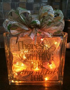Thanksgiving holiday glass block
