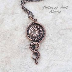 Copper woven wire spiral necklace handmade wire wrapped
