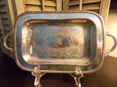 Vintage SILVER SERVING TRAY Rectangular with Charming Details