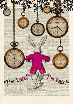 Set of 4 Alice in Wonderland Antique Book page Art Prints A4-Nursery Set 2 Pink