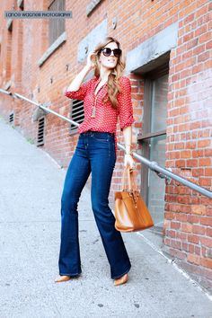 flared jeans and blouse