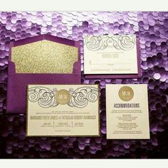 Love these beautiful purple and gold letter press invitations!