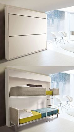 Awesome use of space! Lollisoft Hidden Bunk Beds...  This is a winning idea for hide up bunks in my dream camper.
