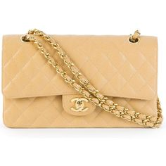 Chanel Vintage Double Flat Shoulder Bag (9,275 NZD) ❤ liked on Polyvore featuring bags, handbags, shoulder bags, chanel, shoulder bag purse, chain shoulder bag, vintage shoulder bag and chain purse