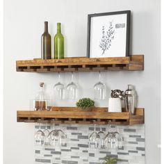 Trent Austin Design® Bernardo Solid Wood Wall Mounted Wine Glass Rack & Reviews | Wayfair Wine Glass Storage, Wine Glass Shelf, Wine Shelves, Wine Glass Rack, Wine Rack Wall, Glass Shelves, Wine Racks, Bar Shelves, Tabletop