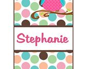 Iphone 3 Case, Iphone 4 Case, Iphone 4 Cover, Pink Polka Dot Owl, Monogrammed