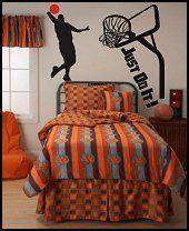 Bedding is uhhhhgleee! I like the basketball background.