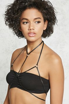 A faux leather body chain featuring high-polish O-ring accents, a halter neckline, and lobster clasp closure. Shop Forever, Forever 21, Blonde Model, Printed Tees, Latest Trends, Neckline, Lingerie, Best Deals, Clothes