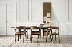 So classy, STOCKHOLM table and chairs in walnut veneer, from IKEA.