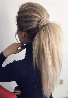 Gorgeous Ponytail Hairstyle Ideas That Will Leave You in FAB Wunderschöne Pferdeschwanz Frisur Ideen Cute Ponytail Hairstyles, Wavy Ponytail, Cute Ponytails, Winter Hairstyles, Wedding Hairstyles, Hairstyle Ideas, Ponytail Ideas, Perfect Ponytail, Ponytail Hairstyles